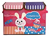 UberLyfe Foldable Kids Storage Box Organizer- Double Flap - Large (Candy Rabbit)