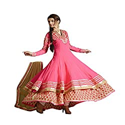 Shenoa Women Faux Georgette Dress Material (9005 _Pink)