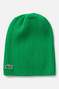 Men's Green Croc Ribbed Wool Knit Beanie