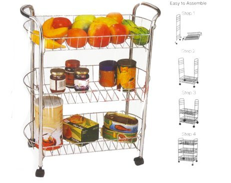 Great Value Slim Design 3 - Tier Slim Kitchen Trolley Mounted on Casters / Wheels (H: 80cm, W: 50cm, D: 20cm) - Chrome