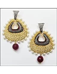 E-designs Rhodium / Gold Plated Earring With CZ Stone Alongwith Colour Stones Studded For Women - B00HNMNRP8