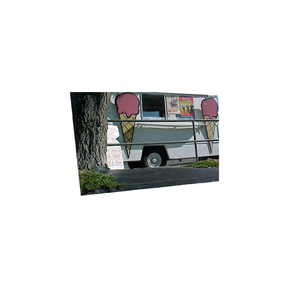 2 Over 5f Tall HARD Ice Cream Truck Cone Signs. Music To Your Ears Ice Cream Sign