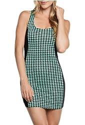 Fashion Square Women's Mint Color Block Sleeveless Fitted Mini Dress