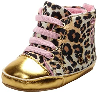 Juicy Couture Baby Baby-Girls Newborn Leopard Sneakers, Gold Metallic, 3-6 Months