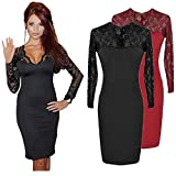 Elite99 Womens Sexy Celeb Ladies Long Sleeve Lace Midi Party Evening Bodycon Black Red Beige Dress