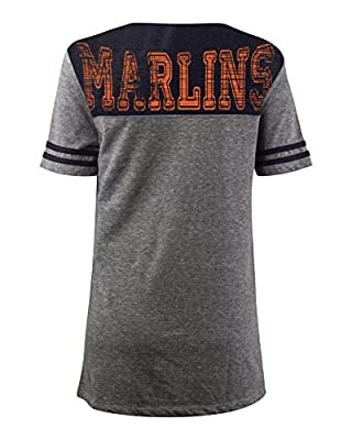 MLB Miami Marlins Oversized Top with Contrast Yoke and Split Henley