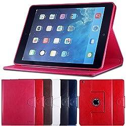 AirCase Premium Leather 360 Degree Rotatable Slim Portfolio Case with Magnetic Closure for Apple iPad Air (Pink)