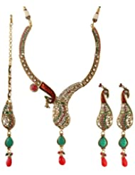 Exotic India Meenakari Peacock Necklace Set With Faux Ruby And Emerald - Copper Alloy With Cut Glass