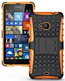 Heartly Flip Kick Stand Spider Hard Dual Rugged Armor Hybrid Bumper Back Case Cover For Microsoft Nokia Lumia 535 Dual Sim - Mobile Orange