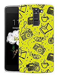 """Cameras In Yellow Printed Designer Mobile Back Cover For """"LG K7"""" By Humor Gang (3D, Matte Finish, Premium Quality, Protective Snap On Slim Hard Phone Case, Multi Color)"""