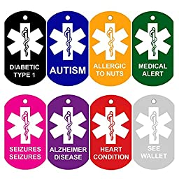 2 Medical Alert ID Tags | Personalized FRONT AND BACK | Medical Alert Logo | Medical Pet Tag Dog Tag by CNATTAGS (Silver Color)