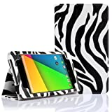 SUPCASE New Google Nexus 7 FHD 2nd Generation Tablet Slim Fit Folio Leather Case - Zebra Black (Free Stylus, Elastic Hand Strap, Support Auto Wake/Sleep, Compatible with ASUS Google Nexus 7 Full HD 2 2.0 II Tablet 2013 Version)