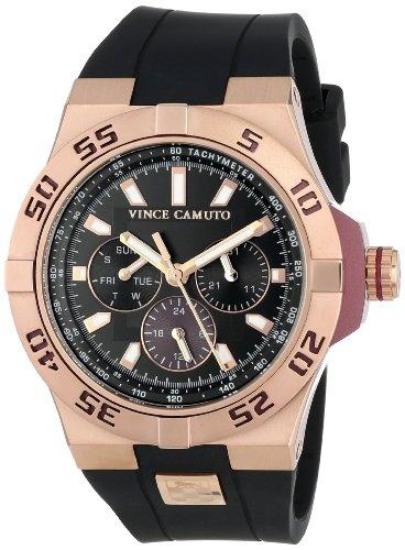 Vince Camuto  VC/1010BYRG - Reloj de cuarzo para hombre, con correa de silicona, color negro