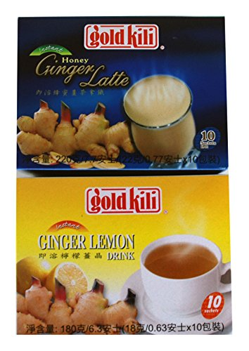 Gold Kili All Natural Ginger & Lemon, Honey Ginger Latte Instant Drink (Bundle)