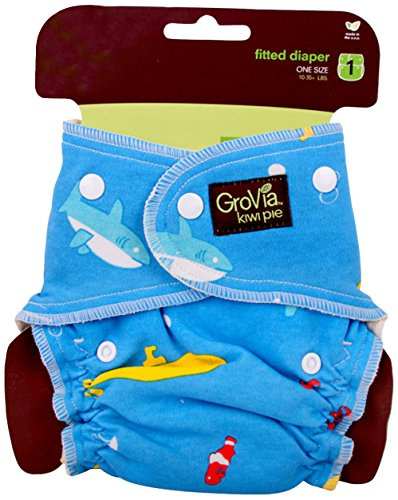 GroVia Kiwi Pie Fitted-Diaper - Yellow Submarine - 1