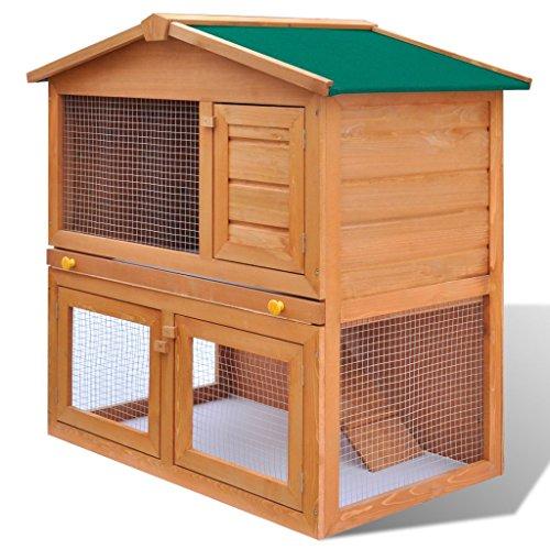 vidaXL-Outdoor-Rabbit-Hutch-Small-Animal-House-Pet-Cage-3-Doors-Wood