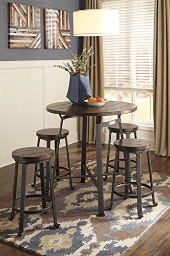 Challiman Rustic Brown Round DRM Counter Table Set