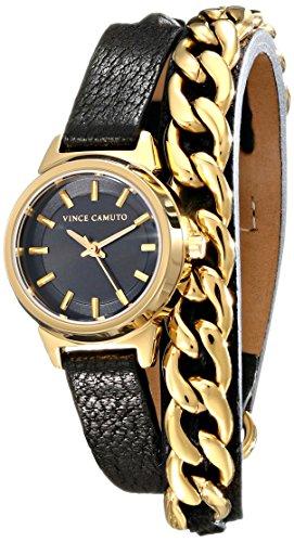 Vince Camuto para mujer reloj infantil de cuarzo con esfera analógica y negro correa de piel VC-5220GPBK