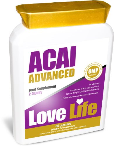 LOVE LIFE Acai Advanced | An Advanced Combination of Acai Berry, Guarana, Green Tea and Acetyl L-Carnitine and Chromium | Detox / Diet / Slimming / Weight Loss Pills | 60 Capsules | Premium GMP Supplement