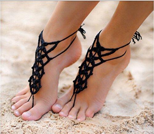 Perfect Crochet Black Barefoot SandalsBeach PoolNude shoesFoot jewelryFootless sandlesBeach Wedding JewelryYoga ChainAnklet Wedding shoes Beach Wedding Summer shoes