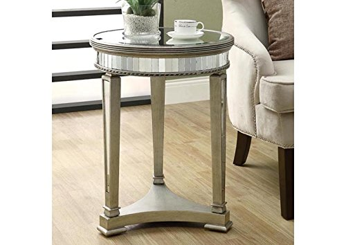 """BRUSHED SILVER / MIRRORED 20""""DIA ACCENT TABLE (SIZE: 20L X 20W X 27H)"""