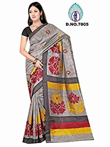 Winza New & latest printed cochin cotton silk wedding saree for ladies girls (Great indian diwali Sale offer deal)