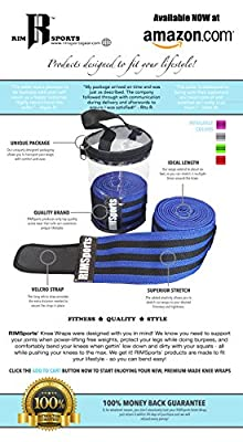 "RIMSports Knee Wraps With Velcro For Knee Caps - Best Knee Wraps For Squats, Gym Workout,weightlifting & Fitness - Premium Powerlifting Knee Wraps For Men & Women- 80""-compression & Elastic Support"