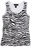 Amy Byer Big Girls' Glitter Me Up Sequence Zebra Print Tank Top,White,Large