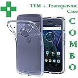 Moto E4, Back Cover, COMBO Tempered Glass Premium Real Perfect Fit Hybrid (TRANSPARENT) Soft Silicon Back Case Cover For Motorola Moto E4