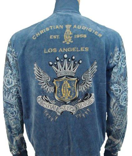 christian tamil wallpaper. Christian Audigier Chain & Crest Velour Track Jacket Blue