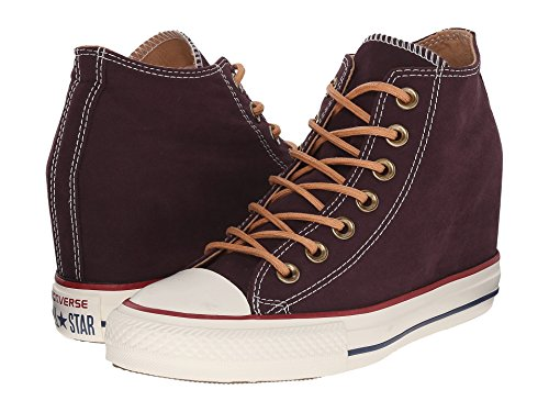 Converse Chuck Taylor All Star Lux Mid Peached Canvas Fashion Sneaker Wedge Shoe - Black Cherry/Biscuit - Womens - 6