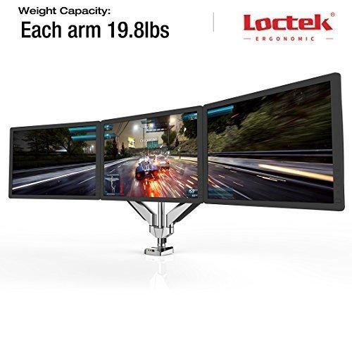 Loctek Full Motion swivel Monitor Arm Desktop workstation stand Height Adjustable Triple Arm Desk Mounts for 10''-24'' Samsung/Dell/Asus/Acer/HP/AOC computer monitor Height Adjustable Triple Arm