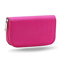 Gilroy Micro SD Memory Card Case Storage Carrying Pouch Holder Wallet Rose-Red