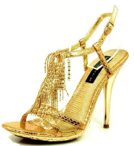 Women'S Celeste Tao-02 Gold Dress Evening High Heel Shoes, Gold, 7.5 front-313405