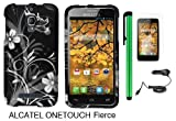 Alcatel One Touch Fierce 7024W (T-Mobile) Premium Pretty Design Protector Hard Cover Case + Car Charger + Screen Protector Film + 1 of New Metal Stylus Touch Screen Pen (Black Silver Butterfly Flower)