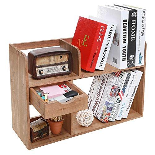 Freestanding Rustic Style Wood 4 Shelf Compartment Storage Organizer Rack / Desk & Counter Top Bookshelf (Countertop Desk compare prices)