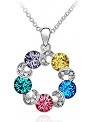 Eleganzza Ring Multicolor Swarovski Crystal Pendant Necklace For Women & Girls