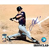 Joe Mauer Autographed Sandy Background 8x10 Batting Photo w/