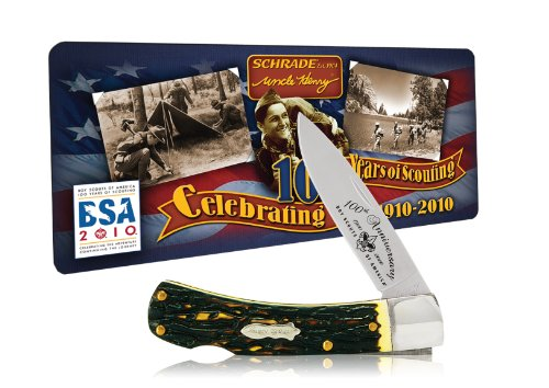 Schrade 5UHBSAT Uncle Henry Bruin Lockback Knife with Boy Scouts of America 100th Anniversary Collector's Tin