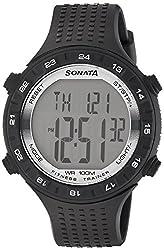 Sonata Digital Grey Dial Mens Watch - 77040PP05