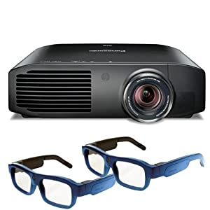 Panasonic PT-AE8000U Full HD 3D Home Theater Projector + 2 Pairs of Xpand 3D Glasses (Blue)