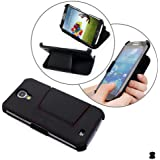 Manna Real Leather UltraSlim Samsung Galaxy S4 Flip Case Protective Cover Wallet (black)
