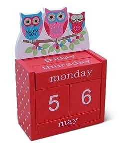Owls on a Branch Wooden Perpetual / Block Calendar