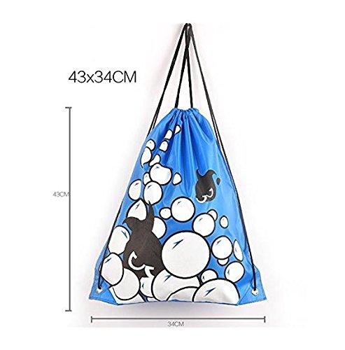 JSH Coulisse Pouch Bag Abbigliamento e Scarpe Sacchetto Impermeabile del Sacchetto Piscina Beach Backpack (Bubble1)