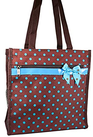 J Garden Brown Blue Polka Dot Canvas Travel Tote Bag with Coin Purse 12-inch