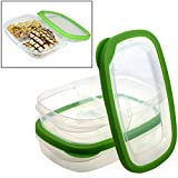 2 Frigidaire 2-Section Food Storage Divider Containers w/ Lids BPA-Free Plastic