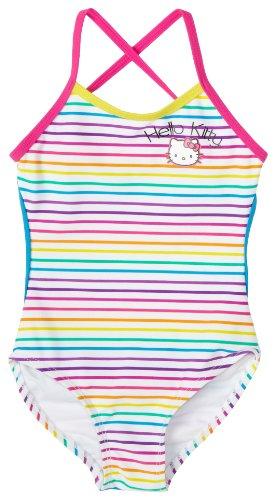 Hello Kitty Little Girls'  1 Piece Cross Back Swimsuit, Rainbow Stripe,  5/6