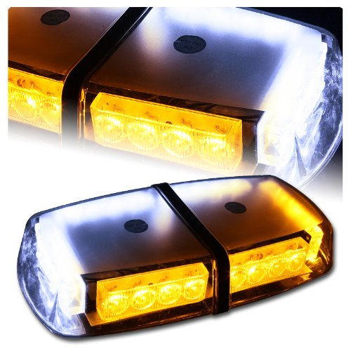 High Wattage Led Magnetic Rooftop Emergency Hazard Warning Strobe Lights - White & Amber