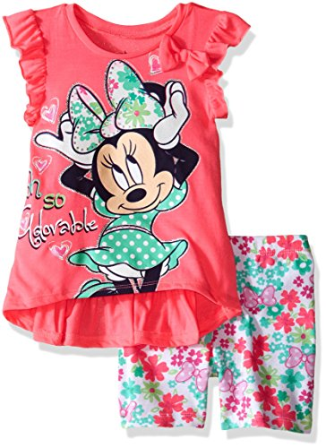 Disney Baby Girls' Minnie Mouse Bike Short Set with Top, Hot Pink, 12 Months