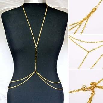 SODIAL(R) Womens Sexy Fashion Body Belly Waist Chain Bikini Beach Harness Necklace